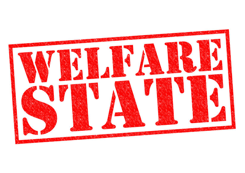 35808467 - welfare state red rubber stamp over a white background.